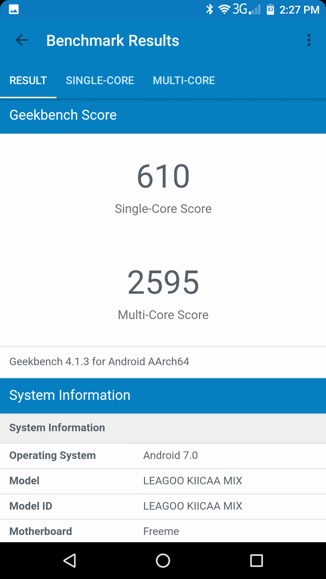 leagoo kiicaa mix geekbench