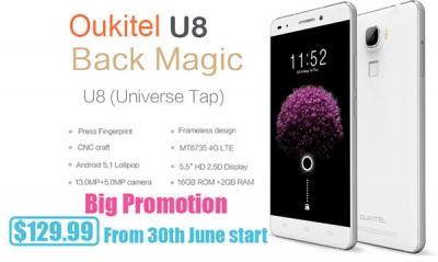 Oukitel U8, prezzo speciale su Aliexpress dal 30 giugno al 7 luglio